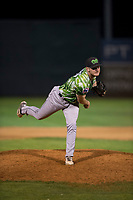 Eugene Emeralds relief pitcher Casey Ryan (24) follows through on his delivery during a Northwest League game against the Salem-Keizer Volcanoes at Volcanoes Stadium on August 31, 2018 in Keizer, Oregon. The Eugene Emeralds defeated the Salem-Keizer Volcanoes by a score of 7-3. (Zachary Lucy/Four Seam Images)