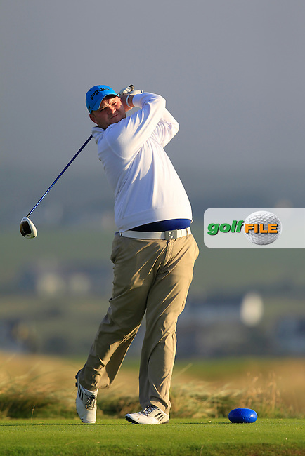 Cian Geraughty (Laytown &amp; Bettystown) on the 2nd tee during the South of Ireland Amateur Open Championship First Round at Lahinch Golf Club  27th July 2013 <br /> Picture:  Thos Caffrey / www.golffile.ie