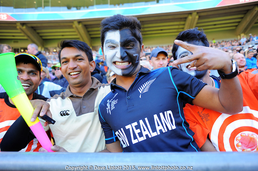 Fans in the grandstand during the ICC Cricket World Cup one day quarterfinal match between the New Zealand Black Caps and West Indies at Wellington Regional Stadium, Wellington, New Zealand on Saturday, 21 March 2015. Photo: Dave Lintott / lintottphoto.co.nz