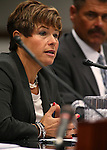 Dr. Tracey Green, Nevada State Health Officer, testifies in committee at the Legislative Building in Carson City, Nev., on Wednesday, Feb. 4, 2015. Richard Whitley, administrator of the Division of Public and Behavioral Health, is at right.<br /> Photo by Cathleen Allison