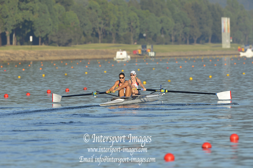 Sydney, Australia.  GBR W2-. Bow. Katie GREVES and Jessica EDDIE, at the start of the Women's pairs heat. FISA World Cup I. and the Sydney International Rowing Regatta. Sydney International Rowing Centre, Penrith Lakes, NSW.   Friday   22/03/2013 [Mandatory Credit. Peter Spurrier/Intersport Images]..