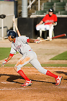 D'Arby Myers (24) of the Lakewood BlueClaws follows through on his swing versus the Kannapolis Intimidators at Fieldcrest Cannon Stadium in Kannapolis, NC, Sunday, May 11, 2008.
