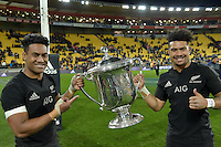 All Blacks' Julian Savea and Ardie Savea. All Blacks v Wallabies. The Rugby Championship &amp; Bledisloe Cup at Westpac Stadium, Wellington, New Zealand on Saturday 27 August 2016.<br /> Photo by Masanori Udagawa. <br /> www.photowellington.photoshelter.com.
