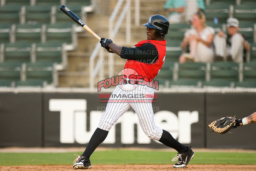 Jared Mitchell #35 of the Kannapolis Intimidators follows through on his swing versus the Augusta GreenJackets at Fieldcrest Cannon Stadium July 24, 2009 in Kannapolis, North Carolina. (Photo by Brian Westerholt / Four Seam Images)