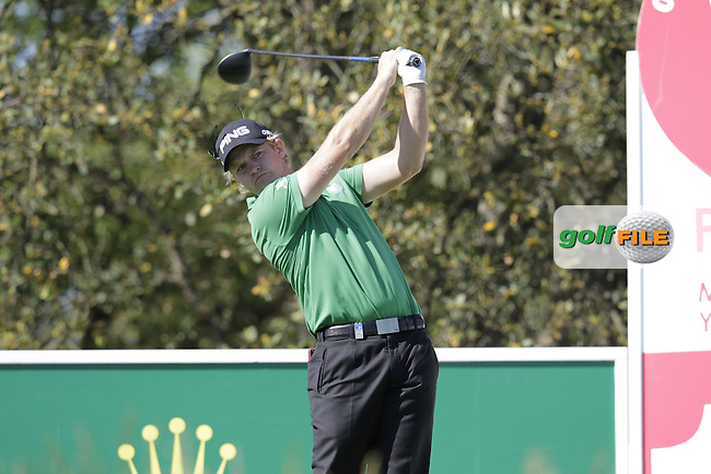 Tom Lewis (ENG) tees off the 10th tee during Thursday's Round 1 of the 2014 Open de Espana held at the PGA Catalunya Resort, Girona, Spain. Wednesday 15th May 2014.<br /> Picture: Eoin Clarke www.golffile.ie