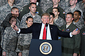 United States President Donald J. Trump delivers remarks to military personnel and families in a hanger at Joint Base Andrews in Maryland on Friday, September 15, 2017.  He visited JBA to commemorate the 70th anniversary of the US Air Force.<br /> Credit: Ron Sachs / CNP