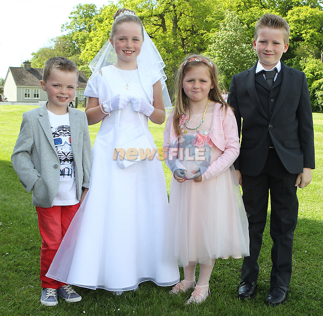 Holly Healy pictured with her cousins Jamie, Ruby and Harry on first communion day in Julianstown.<br /> Picture: www.newsfile.ie