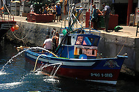 Fishing boat in Mogan harbour, Mogan, Gran Canaria, Spain