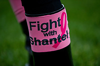 "LOUISVILLE, KY - MAY 04: Jockeys wear ""Fight with Shantel"" bands during the Survivor's Parade on Kentucky Oaks Day at Churchill Downs on May 4, 2018 in Louisville, Kentucky. (Photo by Alex Evers/Eclipse Sportswire/Getty Images)"