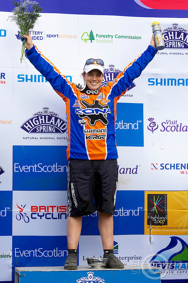 Tracy Moseley on podium..Fort William World Cup , Scotland..May 2006..pic copyright Steve Behr / Stockfile ..