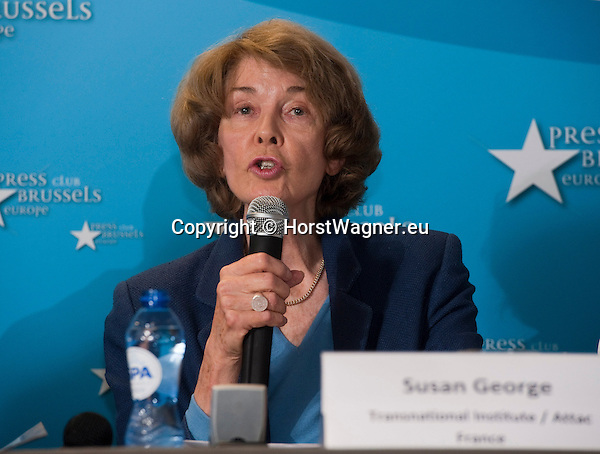 Brussels-Belgium - July 15, 2014 -- Press conference on the registration of the European Citizens' Initiative STOP TTIP and the demand of a stop of the negotiations for TTIP and CETA, held at Press Club Brussels Europe; here, Susan GEORGE (President of the Board of the Transnational Institute Amsterdam TNI, Honorary President of ATTAC-France) -- Photo: © HorstWagner.eu