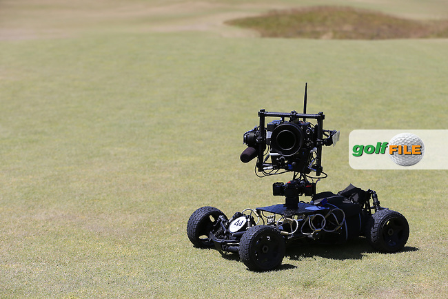 Remote camera on the 1st tee during Sunday's Final Round of the 2015 U.S. Open 115th National Championship held at Chambers Bay, Seattle, Washington, USA. 6/21/2015.<br /> Picture: Golffile | Eoin Clarke<br /> <br /> <br /> <br /> <br /> All photo usage must carry mandatory copyright credit (&copy; Golffile | Eoin Clarke)