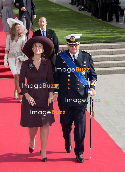 Prince Laurent & Princess Claire of Belgium ; Crown Prince Guillaume of Luxembourg and Countess Stéphanie de Lannoy, Royal Religious wedding,, at the Cathedral of Our Lady of Luxembourg. October 20, 2012.
