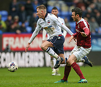 Northampton Town's Zander Diamond sends Bolton Wanderers' Josh Vela sprawling<br /> <br /> Photographer Alex Dodd/CameraSport<br /> <br /> The EFL Sky Bet League One - Bolton Wanderers v Northampton Town - Saturday 18th March 2017 - Macron Stadium - Bolton<br /> <br /> World Copyright &copy; 2017 CameraSport. All rights reserved. 43 Linden Ave. Countesthorpe. Leicester. England. LE8 5PG - Tel: +44 (0) 116 277 4147 - admin@camerasport.com - www.camerasport.com