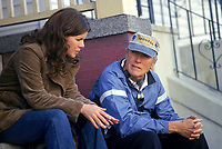 Mystic River (2003)<br /> Behind the scenes photo of Marcia Gay Harden &amp; Clint Eastwood<br /> *Filmstill - Editorial Use Only*<br /> CAP/KFS<br /> Image supplied by Capital Pictures