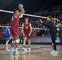 STANFORD, CA - March 2, 2019: Jaylen Jasper, Kyle Dagostino, Kyler Presho at Maples Pavilion. The Stanford Cardinal defeated BYU 25-20, 25-20, 22-25, 25-21.