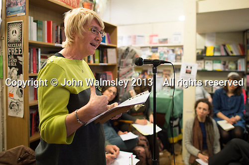 Lynn Brady, Risinghill, speaking at the event to discuss Leila Berg's contribution to radical education and children's lives, Houseman's bookshop, London, 22nd May 2013.