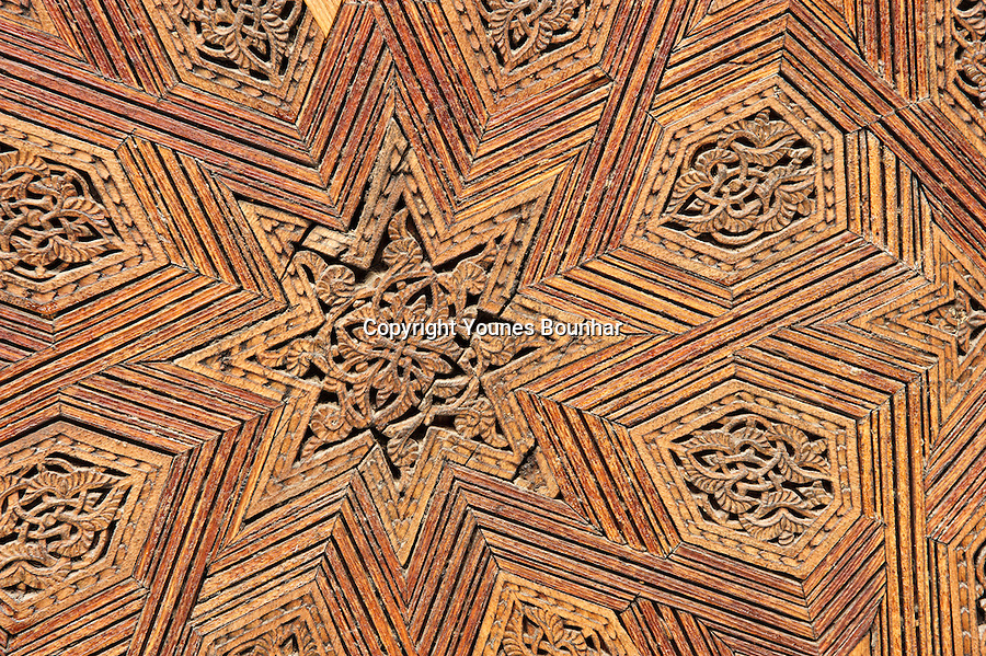 Fine Details of the architecture, design and decor of the Medersa Bouanania, one of Fes' oldest schools