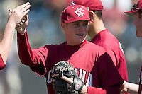 South Carolina starting pitcher Blake Cooper (27) high fives teammates after coming out of the game in the 6th inning versus LSU at Sarge Frye Stadium in Columbia, SC, Thursday, March 18, 2007.