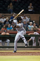 Salt River Rafters center fielder Monte Harrison (4), of the Miami Marlins organization, at bat during an Arizona Fall League game against the Scottsdale Scorpions at Scottsdale Stadium on October 12, 2018 in Scottsdale, Arizona. Scottsdale defeated Salt River 6-2. (Zachary Lucy/Four Seam Images)