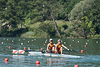 Lucerne, SWITZERLAND, 13th July 2018, Friday CHN M2X, Bow,  Yule<br /> MA, and Zhenyu<br /> YANG, Start Area, FISA World Cup series, No.3, Lake Rotsee, Lucerne, &copy; Peter SPURRIER,