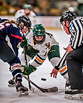 9 February 2018: University of Vermont Catamount Forward Ali O'Leary, a Sophomore from Reading, MA, takes a second period face-off against the University of Connecticut Huskies at Gutterson Fieldhouse in Burlington, Vermont. The Lady Cats defeated the Huskies 1-0 the first game of their weekend Hockey East series. Mandatory Credit: Ed Wolfstein Photo *** RAW (NEF) Image File Available ***