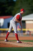 Williamsport Crosscutters pitcher Spencer Van Scoyoc (39) during a NY-Penn League game against the Batavia Muckdogs on August 25, 2019 at Dwyer Stadium in Batavia, New York.  Williamsport defeated Batavia 10-3.  (Mike Janes/Four Seam Images)