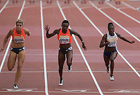 Dafne SCHIPPERS (left) of Holland wins the 100m in a time of 10.92 during the Sainsbury's Anniversary Games, Athletics event at the Olympic Park, London, England on 25 July 2015. Photo by Andy Rowland.