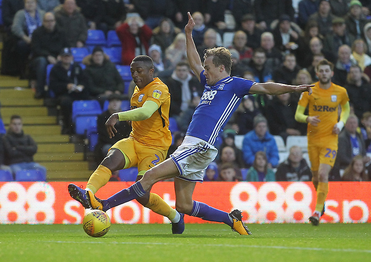 Preston North End's Darnell Fisher  gets a sshot pasr Birmingham City's Maikel Kieftenbeld<br /> <br /> Photographer Mick Walker/CameraSport<br /> <br /> The EFL Sky Bet Championship - Birmingham City v Preston North End - Saturday 1st December 2018 - St Andrew's - Birmingham<br /> <br /> World Copyright &copy; 2018 CameraSport. All rights reserved. 43 Linden Ave. Countesthorpe. Leicester. England. LE8 5PG - Tel: +44 (0) 116 277 4147 - admin@camerasport.com - www.camerasport.com