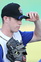 Rancho Cucamonga Quakes pitcher Chris Reed #35 warms up before pitching against the Bakersfield Blaze at the Epicenter on August 24, 2011 in Rancho Cucamonga,California. Rancho Cucamonga defeated Bakersfield 12-10.(Larry Goren/Four Seam Images)