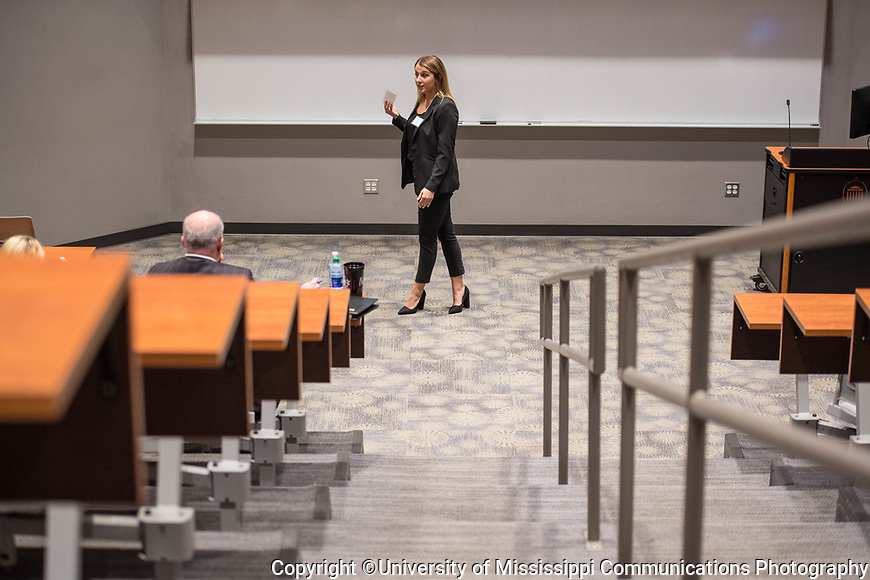 Ole Miss student Diana Lane participates in the Speaker's Edge competition.  Photo by Kevin Bain/University Communications Photography