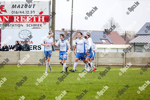 2016-01-24 / Voetbal / seizoen 2015-2016 / KSV Schriek - K.VV Duffel / Sven Van Vlasselaer zorgt voor de 2-1 voor Schriek Foto: Mpics.be