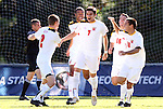 10 November 2010: Maryland's Billy Cortes (7) celebrates his goal. The University of Maryland Terrapins defeated the Clemson University Tigers 2-1 at Koka Booth Stadium at WakeMed Soccer Park in Cary, North Carolina in an ACC Men's Soccer Tournament Quarterfinal game.
