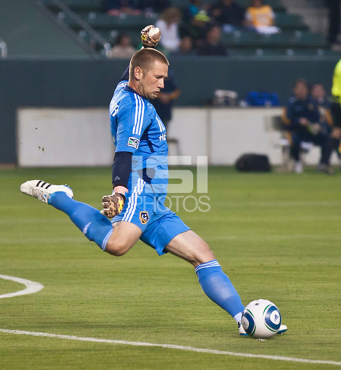 CARSON, CA – May 14, 2011: LA Galaxy goalie Josh Saunders (12) during the match between LA Galaxy and Sporting Kansas City at the Home Depot Center in Carson, California. Final score LA Galaxy 4, Sporting Kansas City 1.