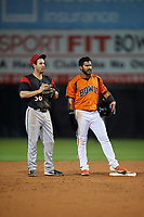 Bowie Baysox Jesmuel Valentin (10) and shortstop Peter Maris (56) during an Eastern League game against the Richmond Flying Squirrels on August 15, 2019 at Prince George's Stadium in Bowie, Maryland.  Bowie defeated Richmond 4-3.  (Mike Janes/Four Seam Images)