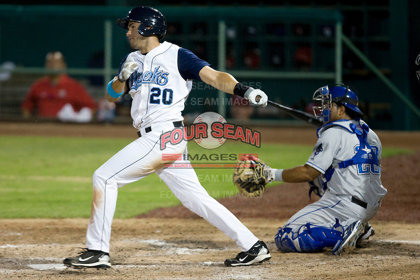 Corpus Christi Hooks outfielder JD Martinez #20 swings during the Texas League All Star Game played on June 29, 2011 at Nelson Wolff Stadium in San Antonio, Texas. The South defeated the North 3-2 in the contest. (Andrew Woolley / Four Seam Images)