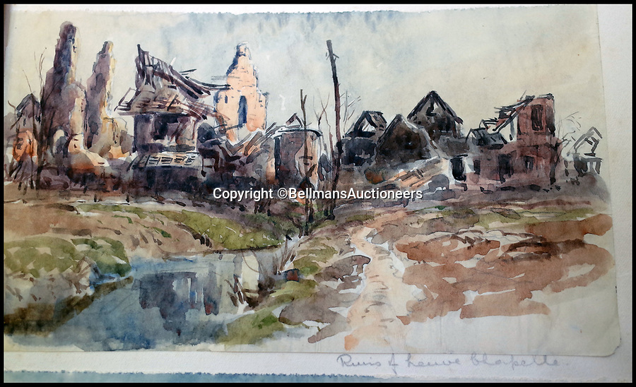 BNPS.co.uk (01202 558833)<br /> Pic: BellmansAuctioneers/BNPS<br /> <br /> After the battle - Ruined Neuve Chapelle.<br /> <br /> A collection of beautiful First War watercolours that offer a fascinating glimpse into one man's life in the trenches has emerged for sale a century later.<br /> <br /> Talented artist Finlay Mackinnon, who exhibited multiple times at the prestigious Royal Academy, answered the call to sign up in 1914 and spent almost all of the First World War fighting in France.<br /> <br /> But in his free time on the front he did what he loved best, capturing life in the trenches and also the beauty of their bleak surroundings in his pictures.<br /> <br /> Bellmans Auctioneers, who are selling the album of artwork, know little about the provenance of the album, which is expected to fetch £4,000 at auction.
