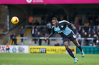 Aaron Pierre of Wycombe Wanderers clears the ball during the Sky Bet League 2 match between Wycombe Wanderers and Luton Town at Adams Park, High Wycombe, England on 6 February 2016. Photo by Andy Rowland.