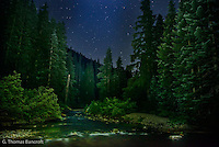 I hiked down to the edge of Deception Creek near where I camped to look for stars.  I found a great rock that allowed me to climb out into the creek. I sat watching the stars for 30 minutes.  The creek gurgled softly by as the night unfold including a few shooting stars.