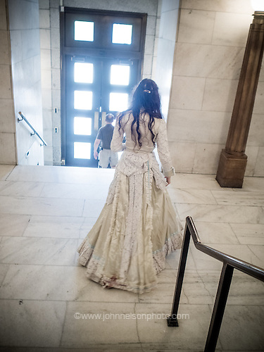 Virginia Eliza Clemm Poe wanders the National Portrait Gallery in Washington, DC.<br /> PHOTOS/John Nelson