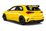 Car pictures of rear three quarter view of 2019 Mercedes Benz A-Class - 5 Door Hatchback Angular Rear