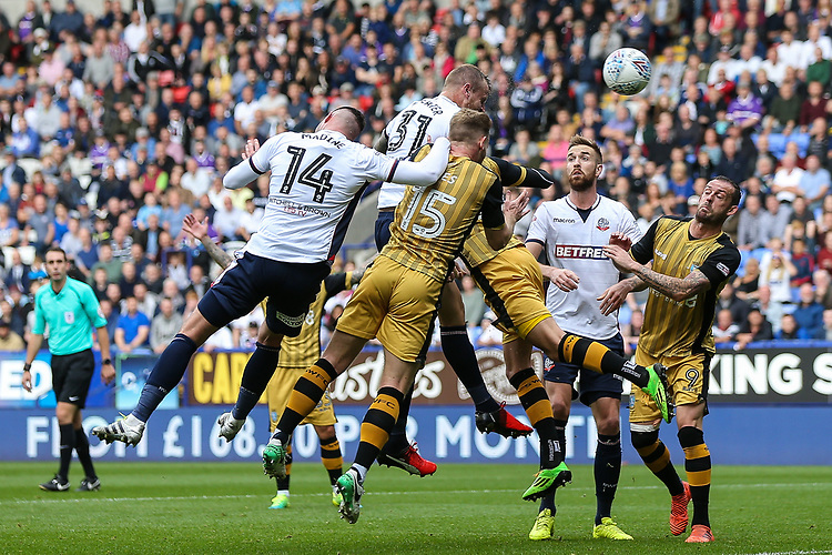 Bolton Wanderers'  David Wheater heads at goal<br /> <br /> Photographer Andrew Kearns/CameraSport<br /> <br /> The EFL Sky Bet Championship - Bolton Wanderers v Sheffield Wednesday - Saturday 14th October 2017 - Macron Stadium - Bolton<br /> <br /> World Copyright &copy; 2017 CameraSport. All rights reserved. 43 Linden Ave. Countesthorpe. Leicester. England. LE8 5PG - Tel: +44 (0) 116 277 4147 - admin@camerasport.com - www.camerasport.com