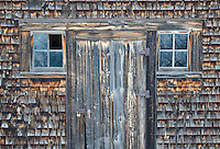 An old barn sits in the cool, morning frost of a winter's day, Door County, Wisconsin