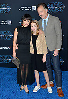 """LOS ANGELES, USA. December 17, 2019: Constance Zimmer, Russ Lamoureux & Colette Zoe Lamoureux at the world premiere of """"Star Wars: The Rise of Skywalker"""" at the El Capitan Theatre.<br /> Picture: Paul Smith/Featureflash"""