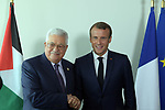 Palestinian President Mahmoud Abbas, meets with the French President  in New York, United States on September 24, 2019. Photo by Thaer Ganaim