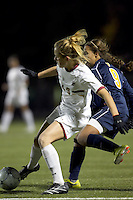 "Boston College forward Kristen Mewis (19) attempts to control the ball as West Virginia forward Frances Silva (9) pressures. Boston College defeated West Virginia, 4-0, in NCAA tournament ""Sweet 16"" match at Newton Soccer Field, Newton, MA."