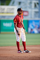 Altoona Curve third baseman Ke'Bryan Hayes (10) during a game against the Richmond Flying Squirrels on May 15, 2018 at Peoples Natural Gas Field in Altoona, Pennsylvania.  Altoona defeated Richmond 5-1.  (Mike Janes/Four Seam Images)