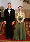 Washington, DC - September 29, 1999 -- U.S. President Bill Clinton and First Lady Hillary Rodham Clinton prepare to greet guests at the 1999 National of Arts and Humanities Dinner at the White House in Washington, DC on 29 September, 1999..Credit: Ron Sachs / Pool via CNP