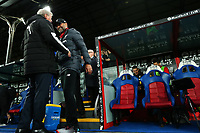 23rd November 2019; Selhurst Park, London, England; English Premier League Football, Crystal Palace versus Liverpool; Liverpool Manager Jurgen Klopp speaks with Crystal Palace Manger Roy Hodgson - Strictly Editorial Use Only. No use with unauthorized audio, video, data, fixture lists, club/league logos or 'live' services. Online in-match use limited to 120 images, no video emulation. No use in betting, games or single club/league/player publications