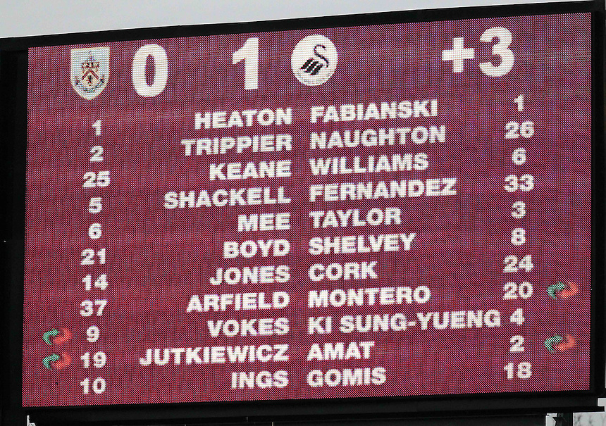 The scoreboard at Turf Moor shows the score at Burnley 0 Swansea City 1<br /> <br /> Photographer Rich Linley/CameraSport<br /> <br /> Football - Barclays Premiership - Burnley v Swansea City - Friday 27th February 2015 - Turf Moor - Burnley<br /> <br /> &copy; CameraSport - 43 Linden Ave. Countesthorpe. Leicester. England. LE8 5PG - Tel: +44 (0) 116 277 4147 - admin@camerasport.com - www.camerasport.com
